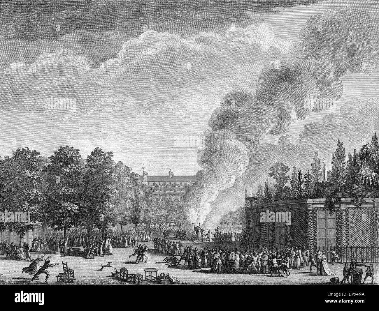 Burning an effigy of the Pope, French Revolution - Stock Image