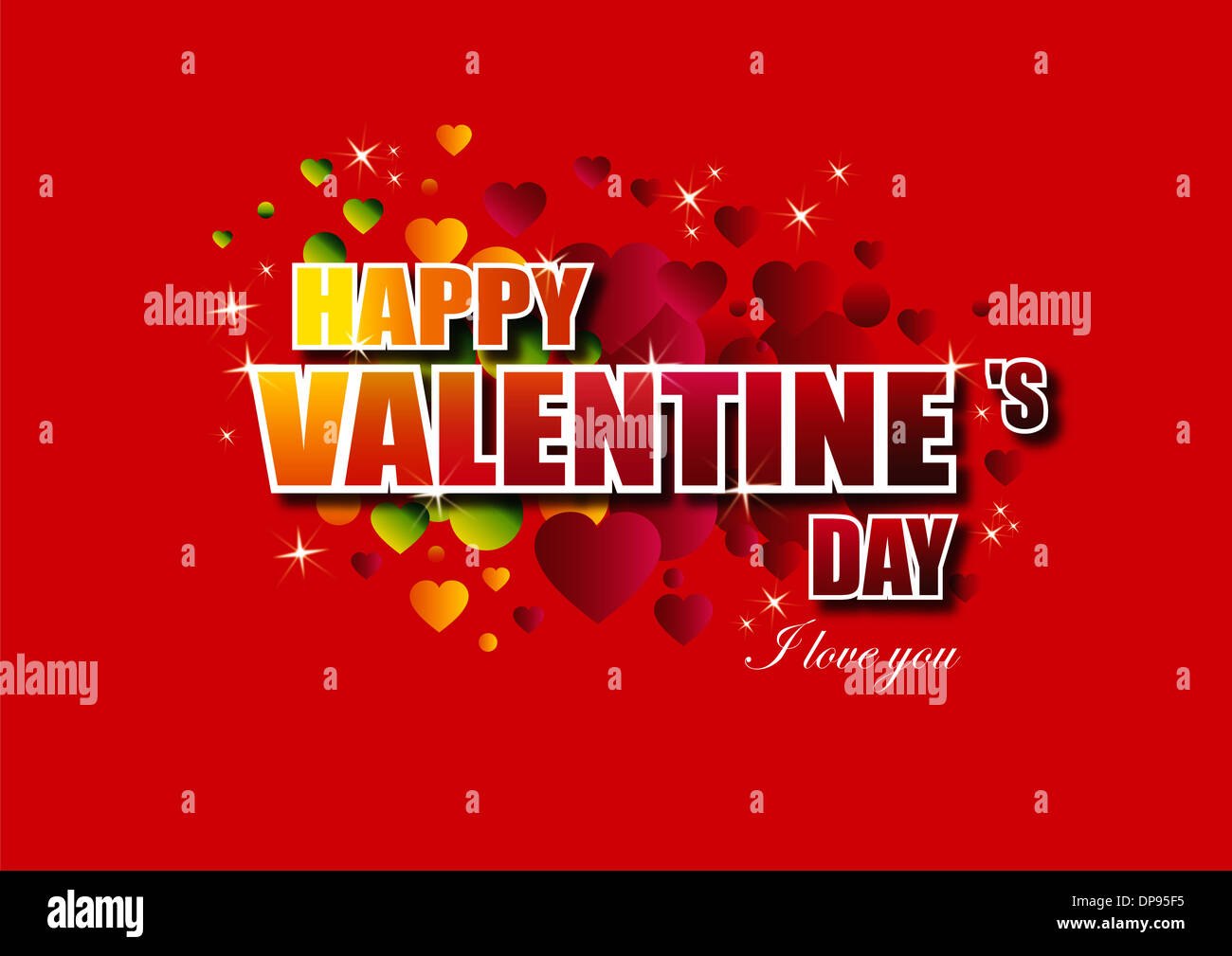 Happy Valentine's Day lettering Greeting Card on red background, vector illustration - Stock Image