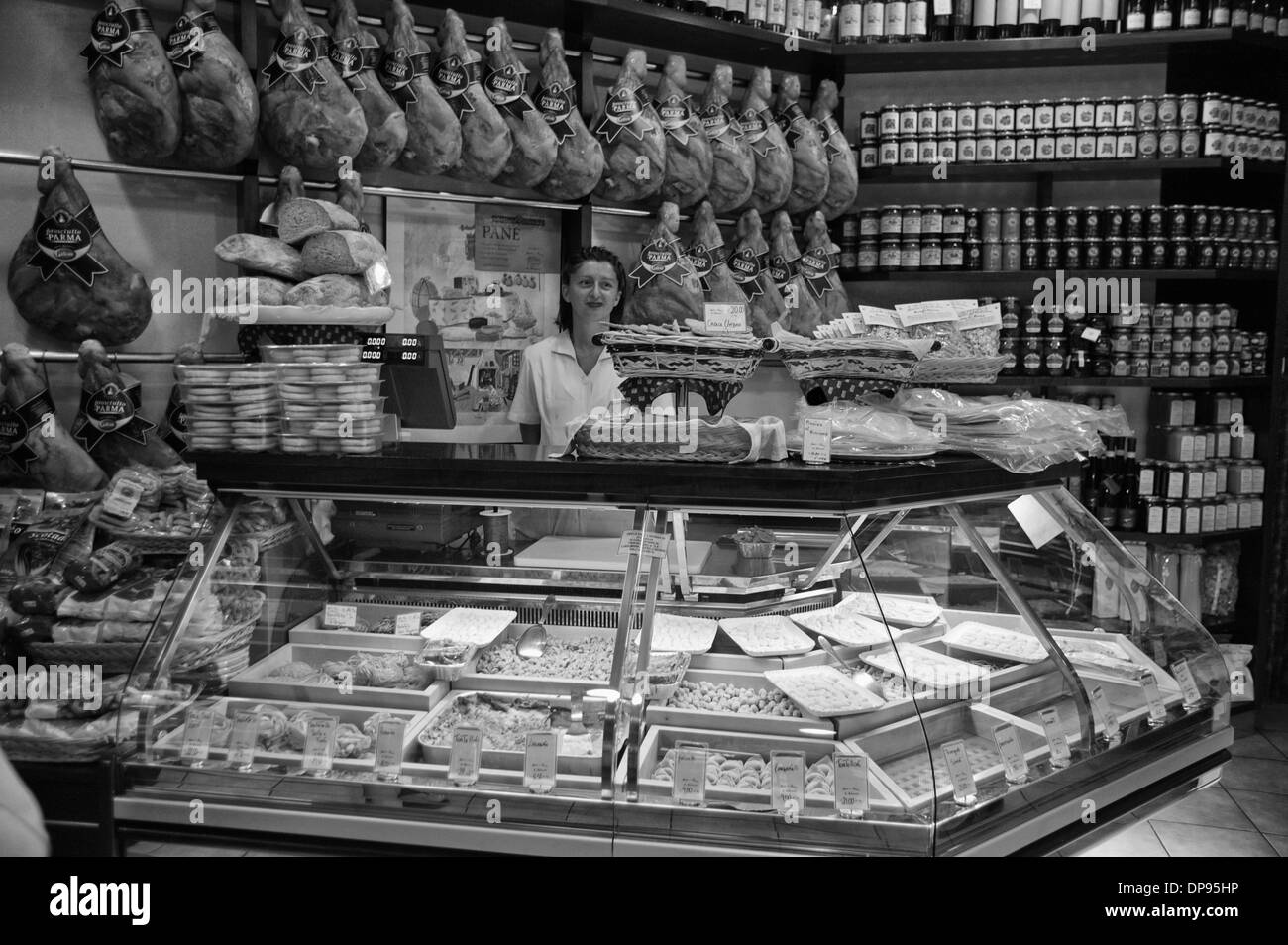Pasta display in the Orefici Market in central Bologna, known as the gourmet capital of Italy. - Stock Image