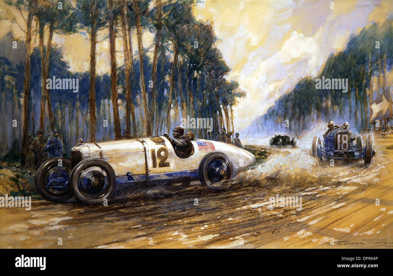 Le Mans 1921.Charcoal Gouache by Gordon Crosby. - Stock Image