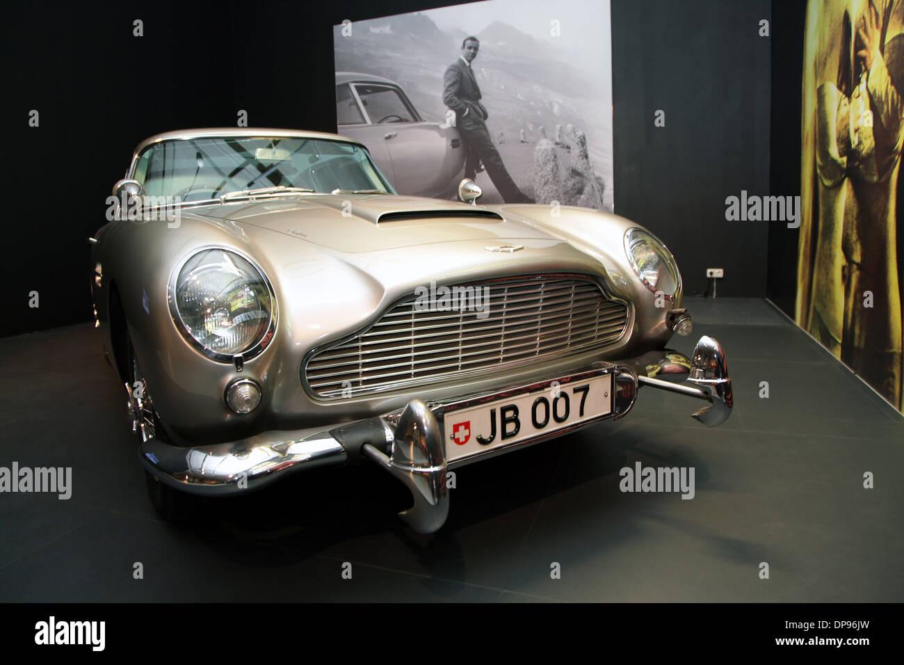 Aston Martin DB5 James Bond.The Original from Goldfinger.1964. 4 litre six cylinder.Power 282 HP - Stock Image