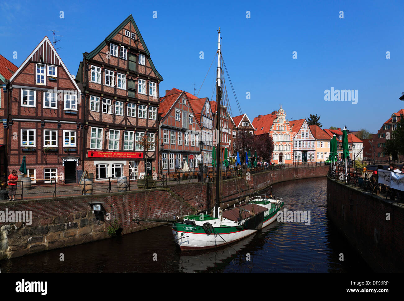 Altes Land, Stade, boat  Ewer WILLI in the old harbor, Lower Saxony, Germany, Europe Stock Photo