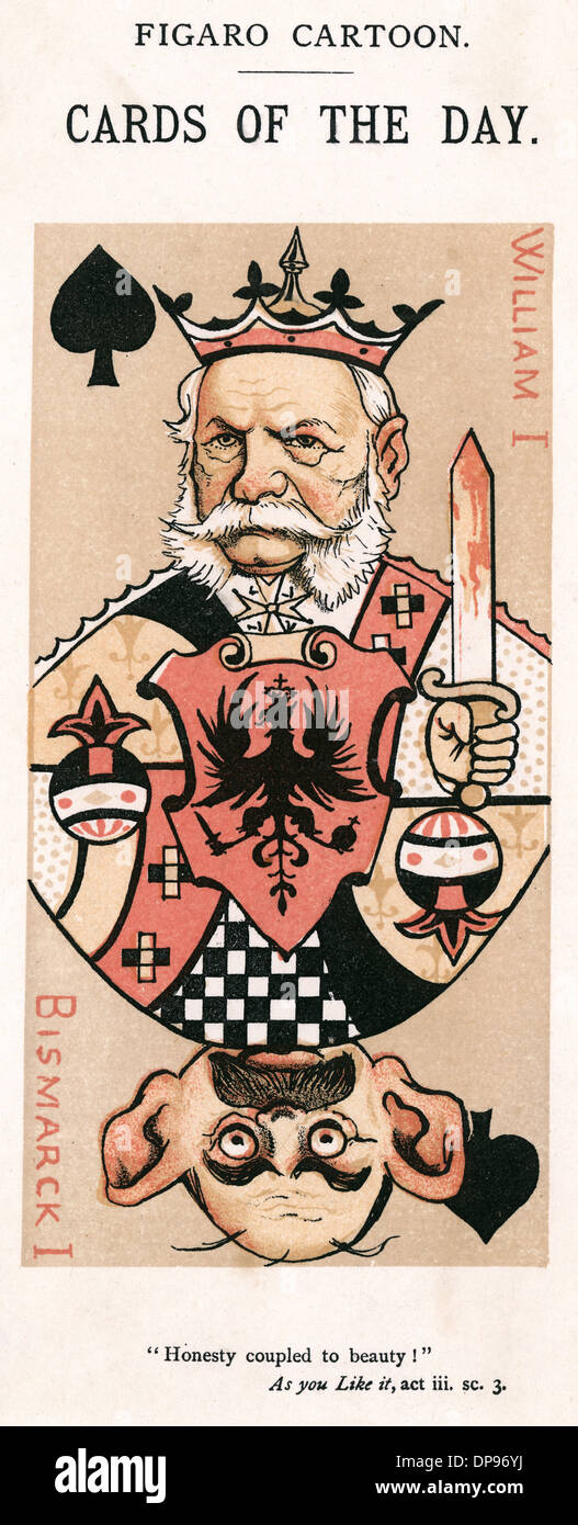Playing card caricatures of Wilhelm I and Bismarck - Stock Image
