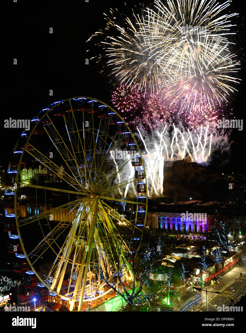Up to 80,000 people are in Princes Street, Edinburgh, Scotland (31 Dec) as part of the Hogmanay Celebrations 2014. - Stock Image