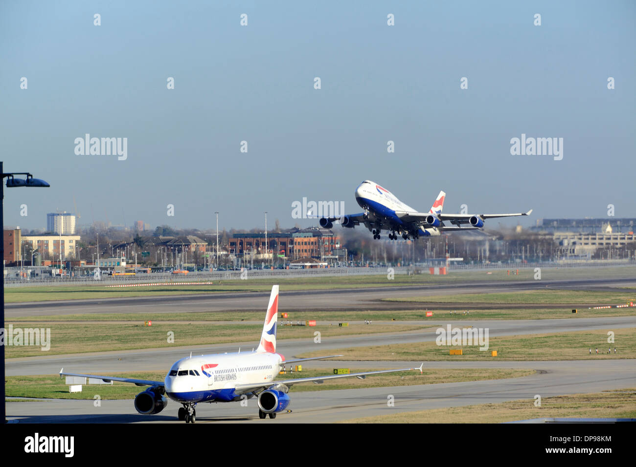 British Airways Boeing 747 takes off at Heathrow Airport runway 27R - Stock Image