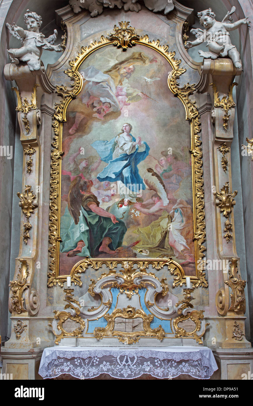 Jasov - Baroque side altar and paint of Immaculate conception by Johann Lucas Kracker - Stock Image