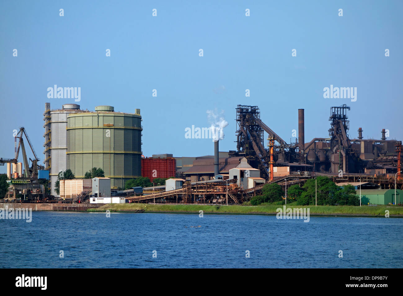 Steelworks of ArcelorMittal Gent, world's largest steel producer, port of Ghent, East Flanders, Belgium - Stock Image