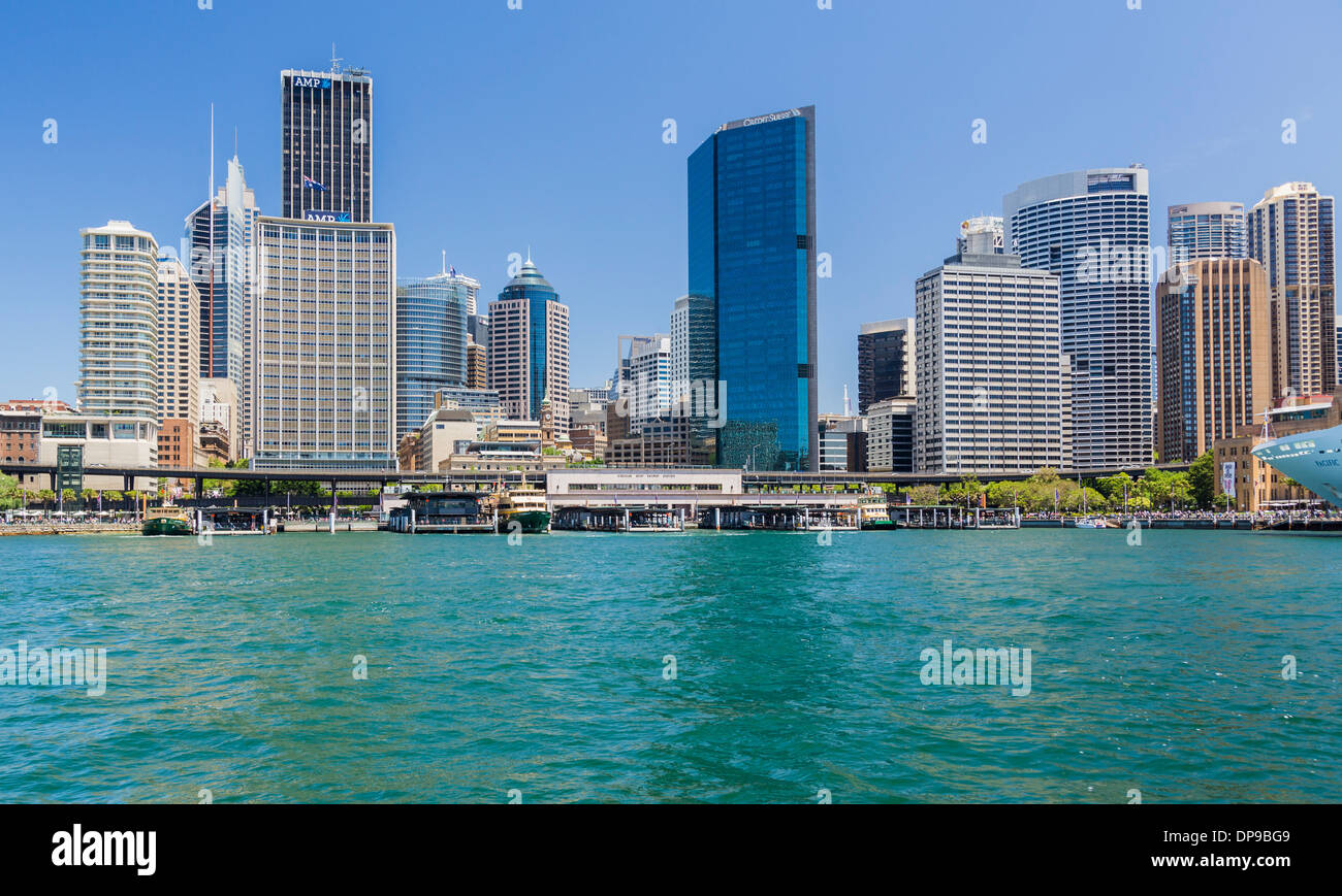 Central business district and ferry terminal, Sydney, Australia - Stock Image