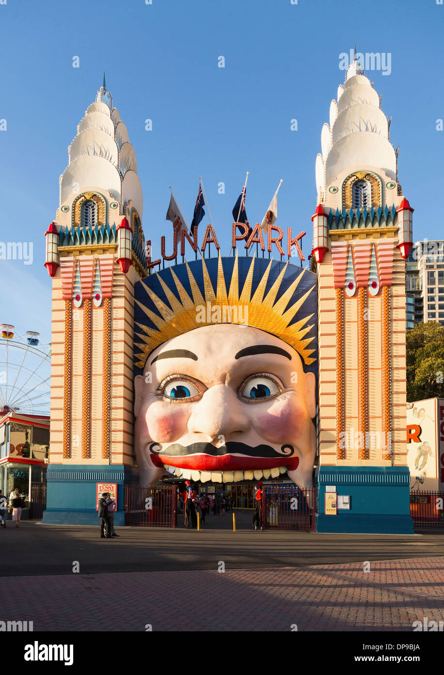 Luna Park Amusement center on north shore of Sydney Harbour, Australia - Stock Image