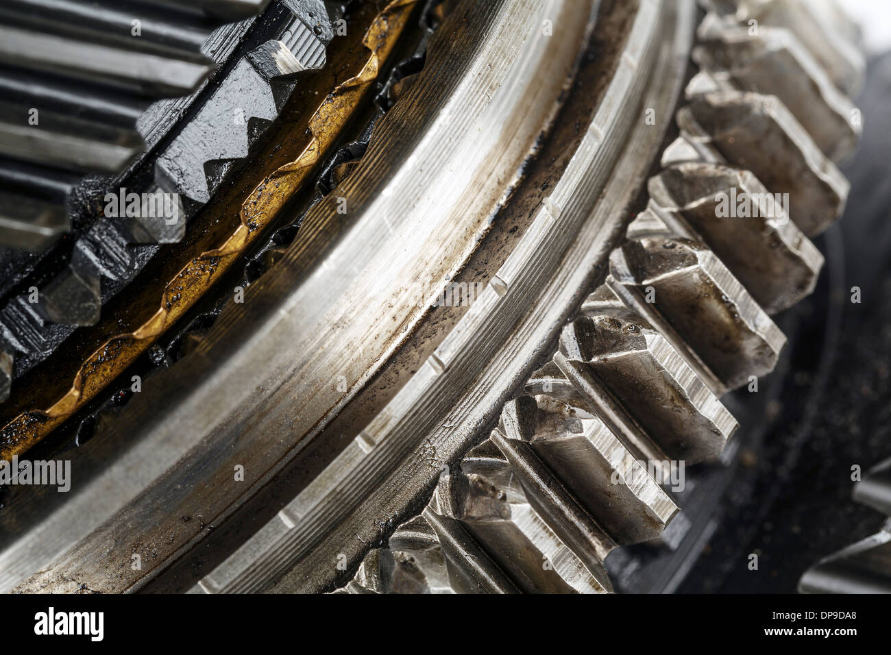 Shown in close up the mainshaft of the gearbox - Stock Image