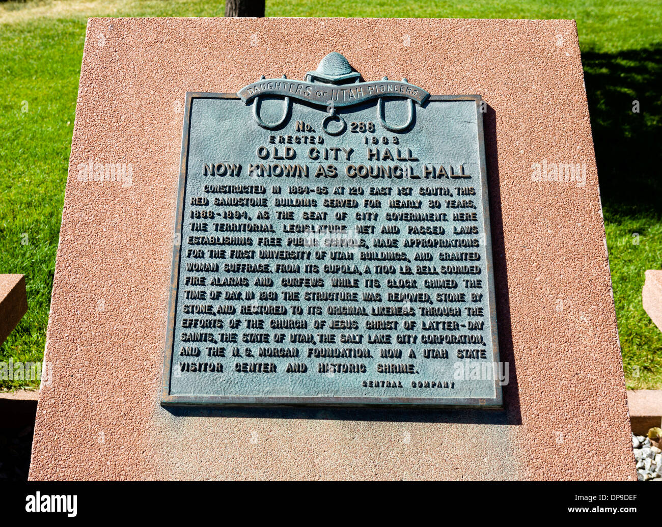 Plaque outside Council Hall (formerly the Old City Hall), Salt Lake City, Utah, USA - Stock Image