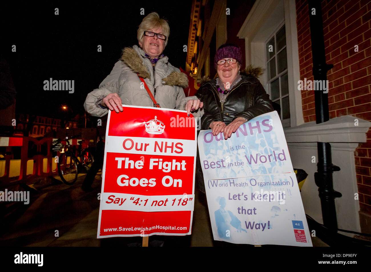 NHS Protest outside BBC TV Question Time in Lewisham, London, UK. Stock Photo