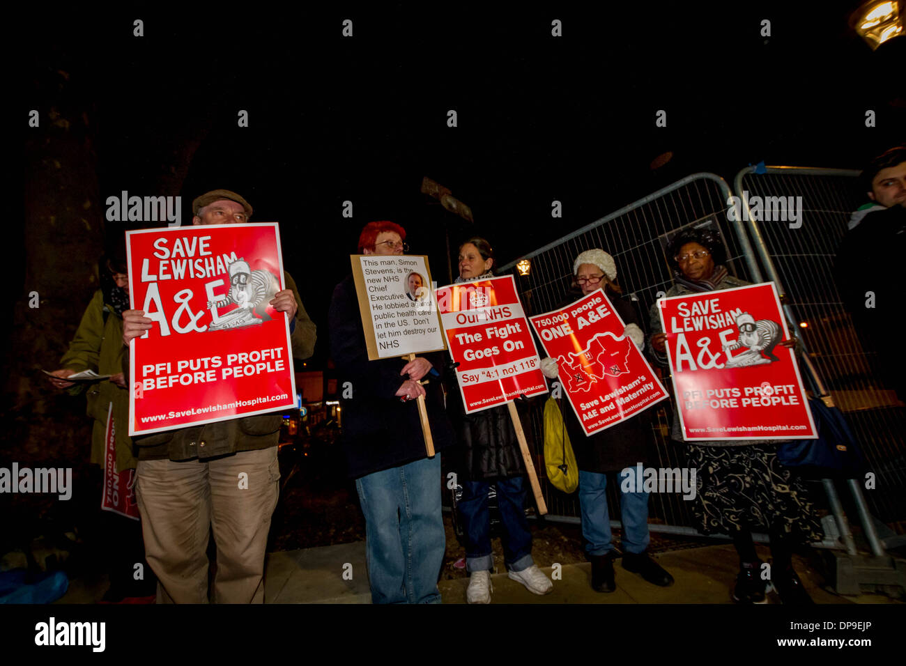 NHS Protest outside BBC TV Question Time in Lewisham, London, UK. - Stock Image