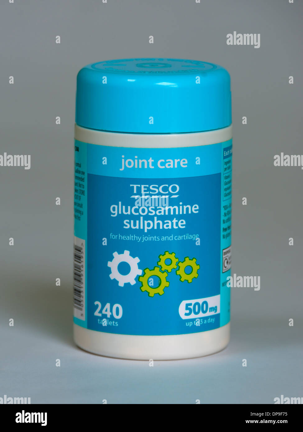 TESCO joint care. glucosamine sulphate for healthy joints and cartilage. Pack of 240 tablets. 500mg. - Stock Image