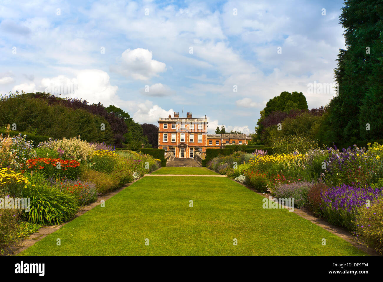 Landscaped garden of an English stately home. - Stock Image