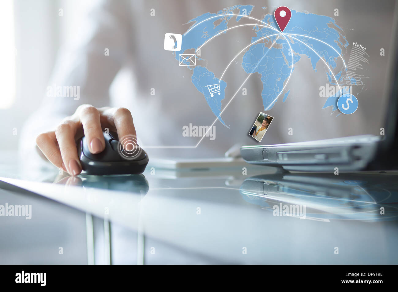 Concept of using wireless technology, online buying, receive and download photo and email, video call - Stock Image