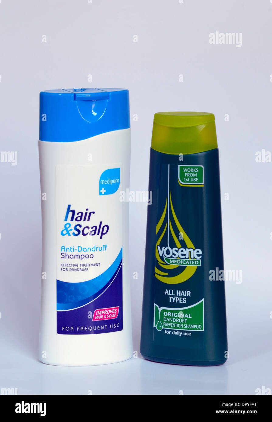 Vosene and Medipure medicated shampoos. Dandruff prevention shampoo. Stock Photo