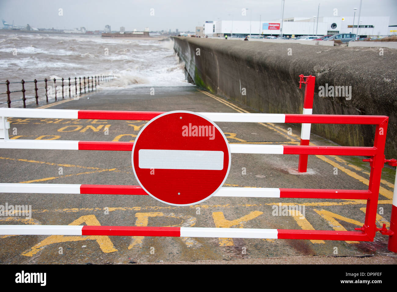 No entry slipway tide coming in stormy dangerous - Stock Image