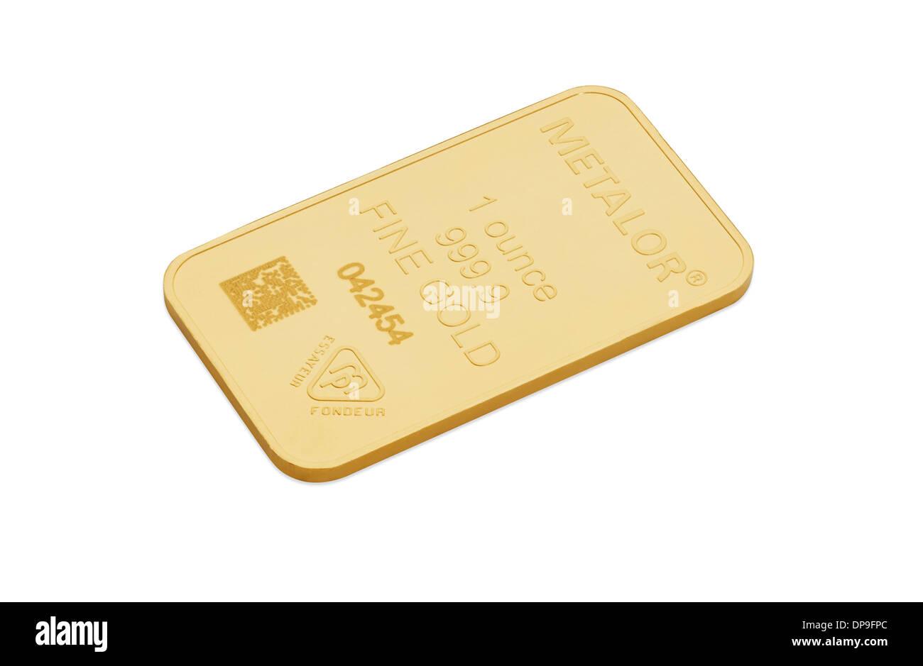 1 ounce of gold as fine gold bullion bar - Stock Image