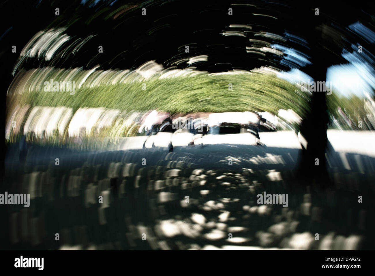 Moving whirl image of Paris park - Stock Image