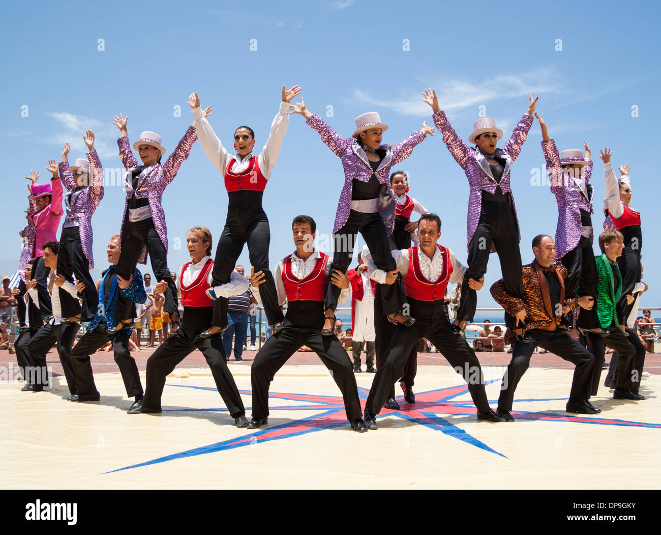 Circus performing near beach in Las Palmas, Gran Canaria, Spain Stock Photo