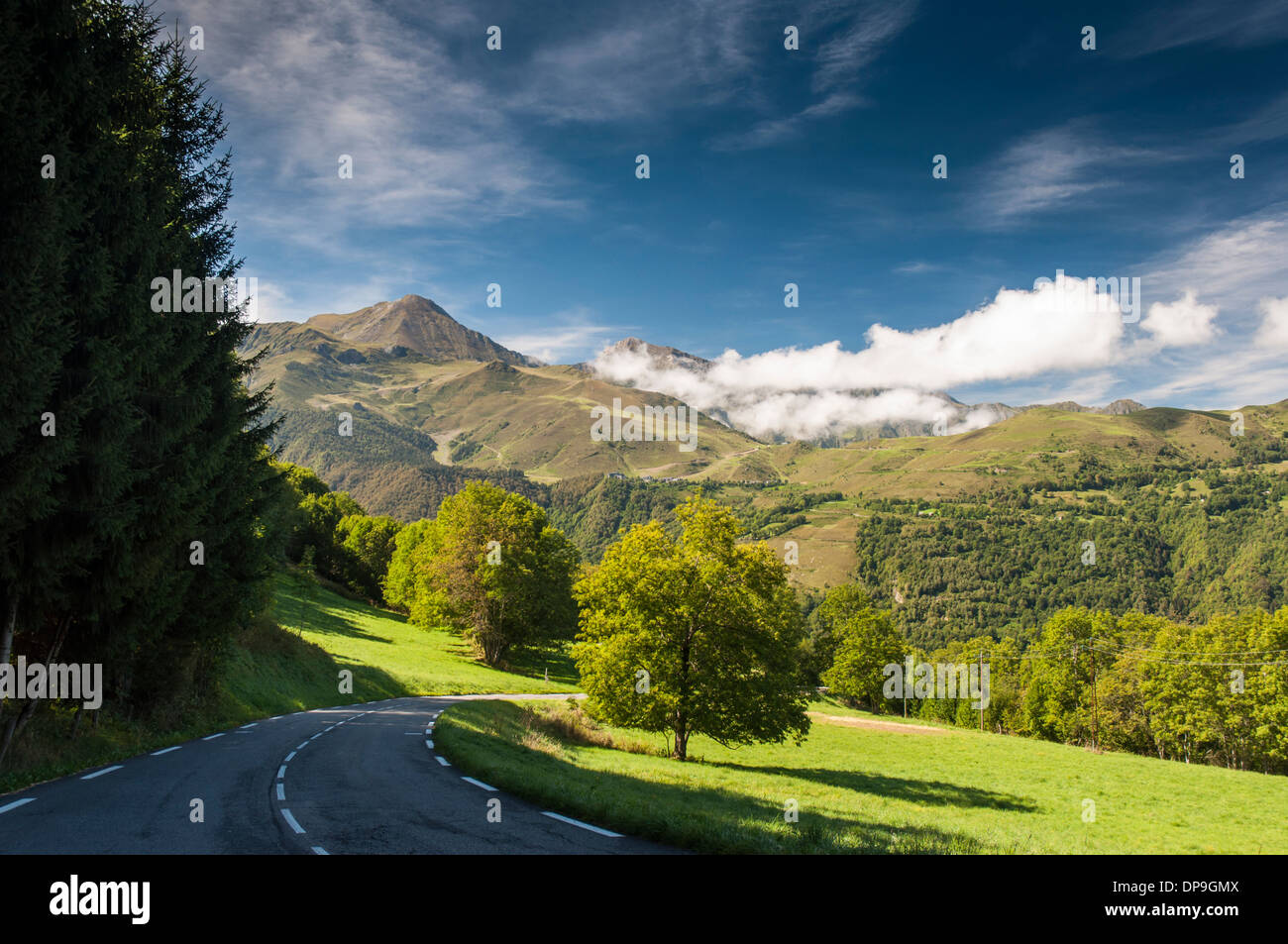 Road D 918 from Col d'Aspin towards Lac de Payolle in the French Pyrenees Stock Photo