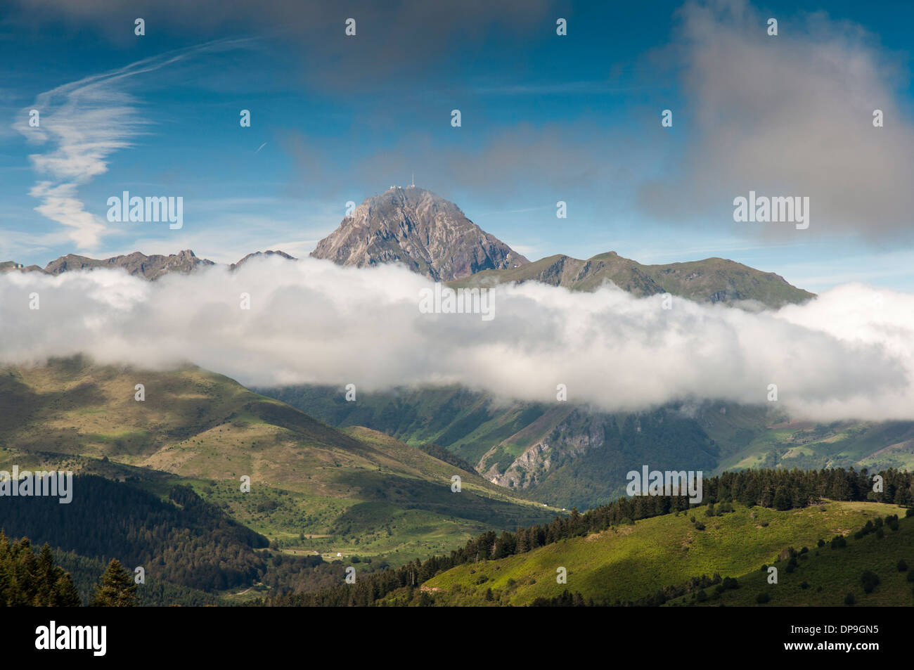 View from the Col d'Aspin towards Pic du Midi de Bigorre (2876m) in the French Pyrenees Stock Photo