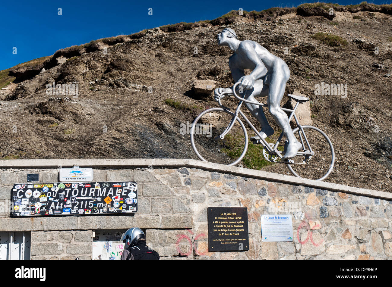 Monument of the Geant du Tourmalet at the top of the Col du Tourmalet in the French Pyrenees Stock Photo