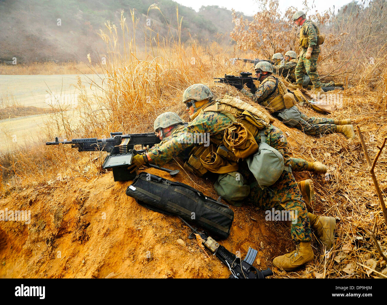 Marines assigned to 2nd Platoon, Fleet Anti-terrorism Security Team Company Pacific, conduct a live fire exercise Stock Photo