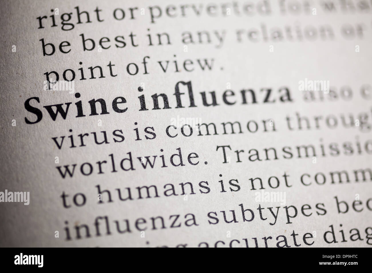 Fake Dictionary, Dictionary definition of Swine influenza. - Stock Image