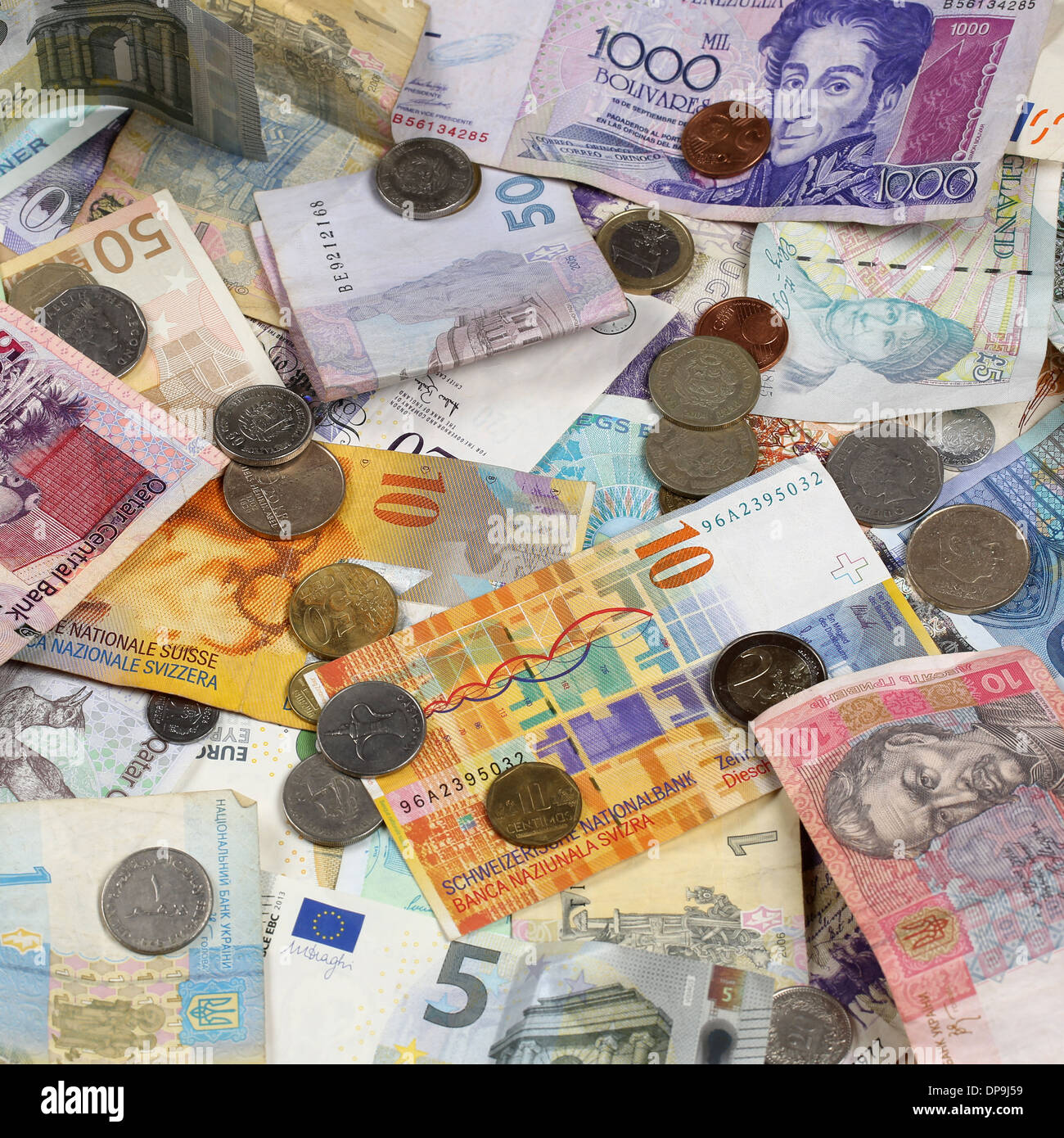 Banknotes And Coins Like Euro Dollar Swiss Franc Pound Rubel Donation