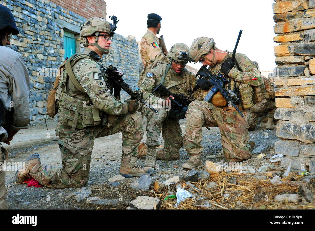 U.S. Army patrol in the village of Madi Khel in the Khowst Province of Afghanistan - Stock Image