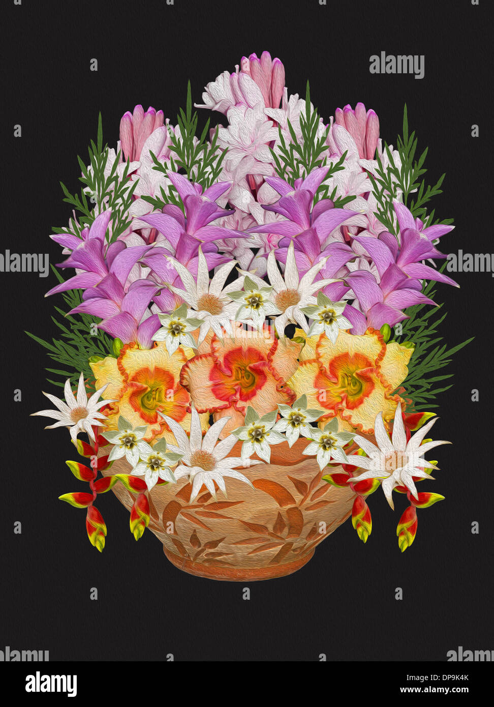 Flower pot collage stock photos flower pot collage stock images spectacular floral art with bouquet of mauve white pink and apricot spring flowers in izmirmasajfo