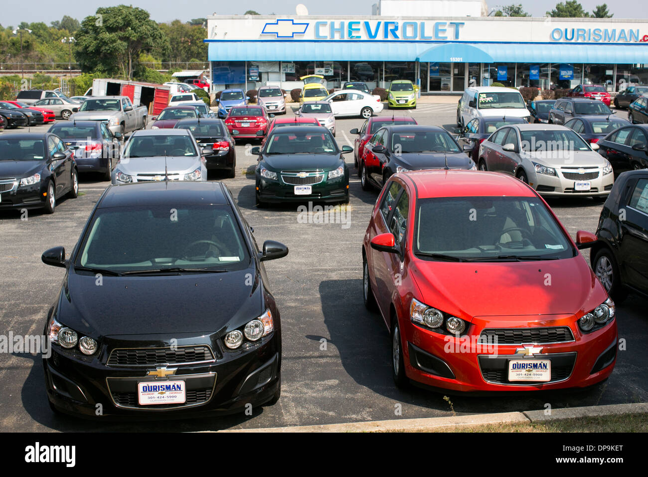 A Chevrolet, Chevy, dealer lot in suburban Maryland. - Stock Image