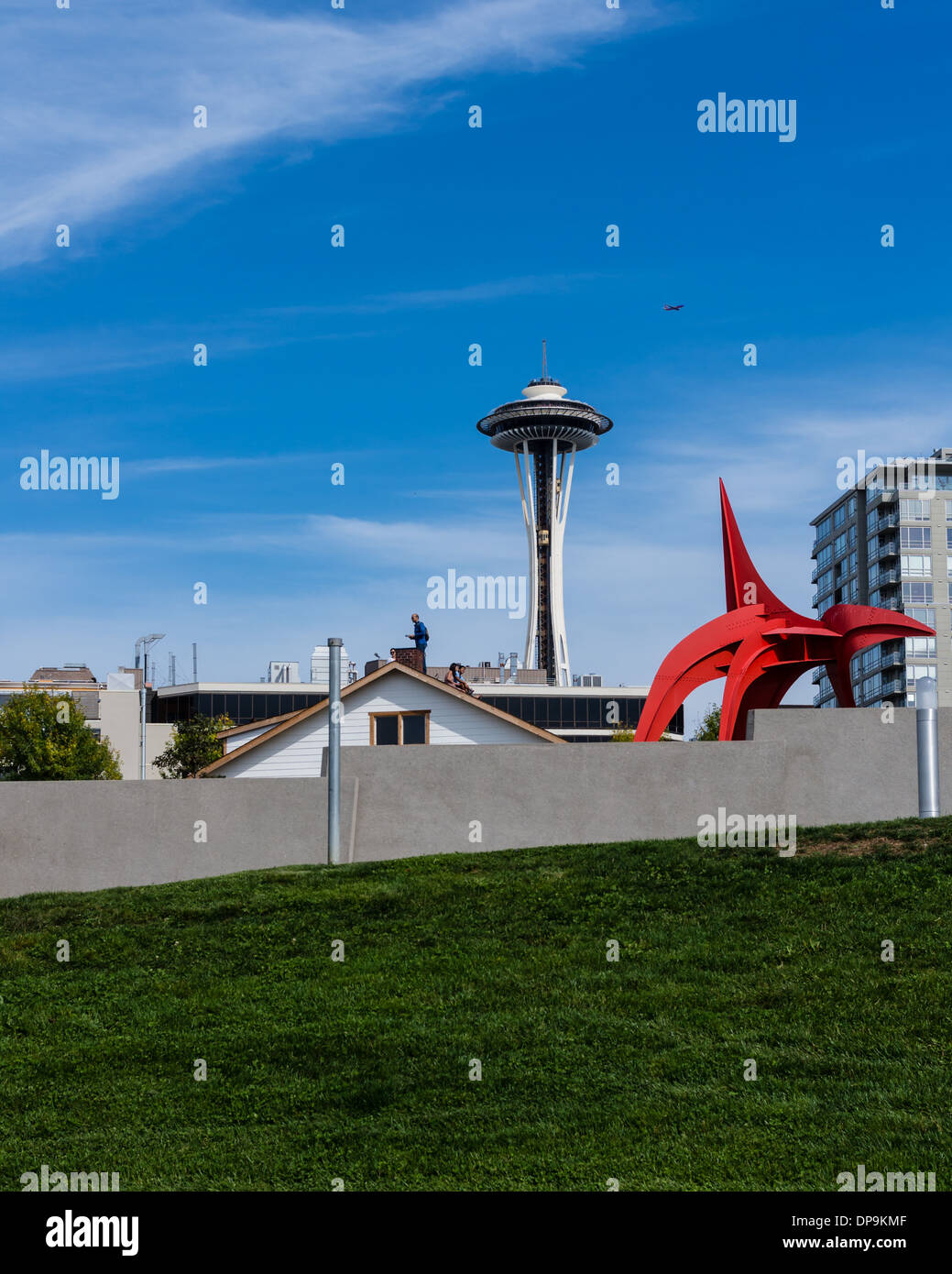 View of the Space Needle and Olympic Sculpture Park from the waterfront.  Seattle, Washington Stock Photo