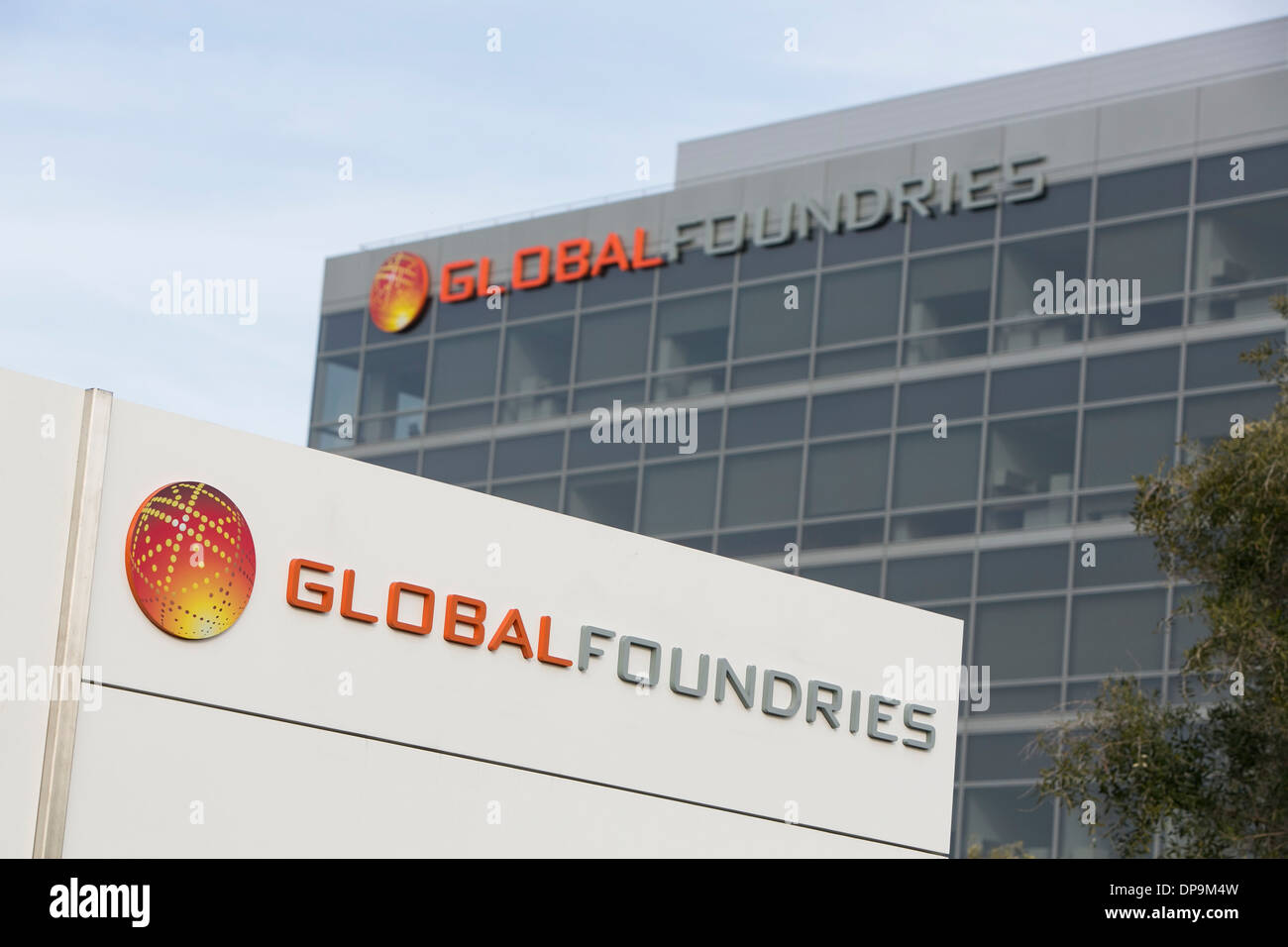 The headquarters of Global Foundries in Santa Clara, California.  Stock Photo