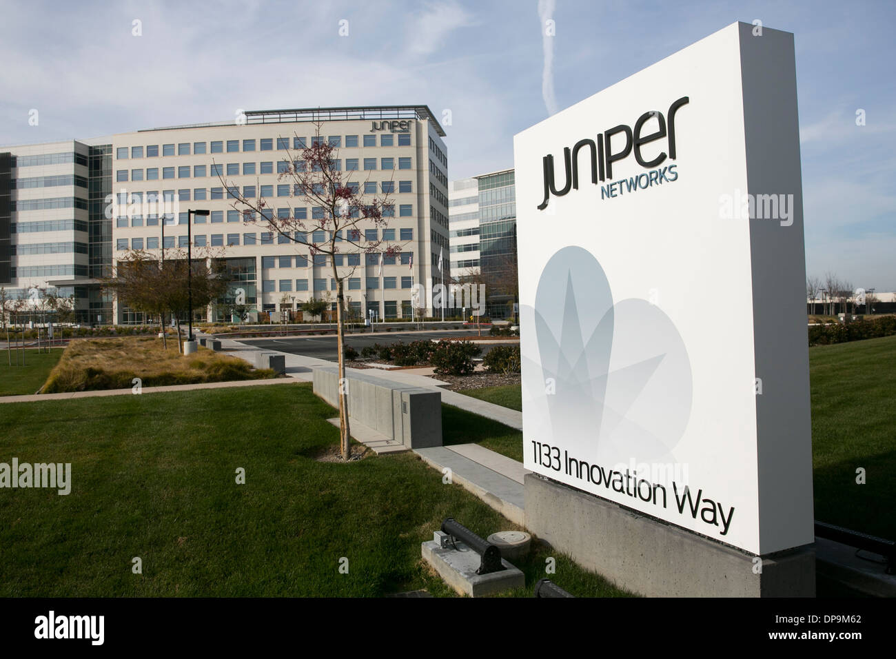 The headquarters of Juniper Networks in Sunnyvale, California Stock