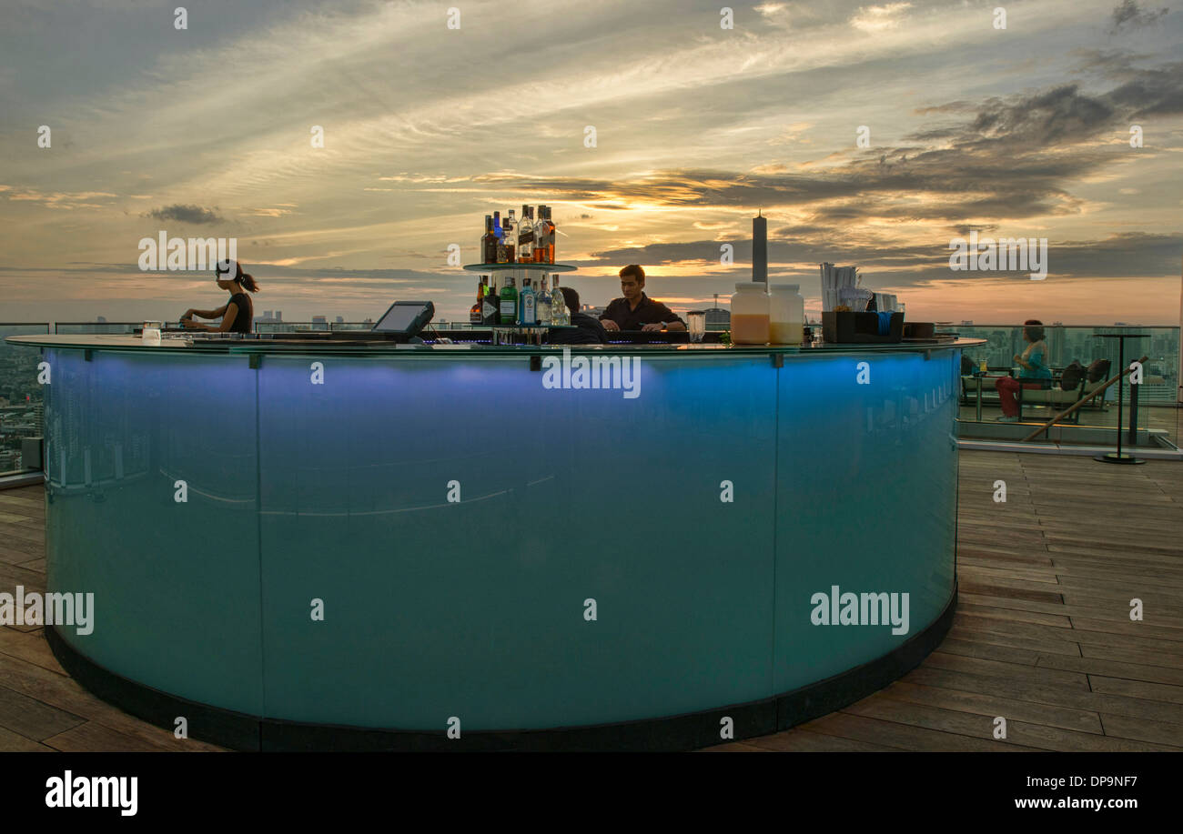 a rooftop bar in Bangkok, Thailand - Stock Image