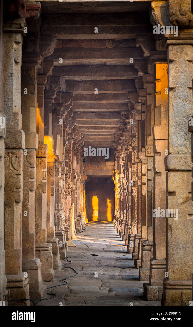 Qutub Minar (The Qutub Tower), also known as Qutb Minar and Qutab Minar, is the tallest minar (73 metres) in India - Stock Image