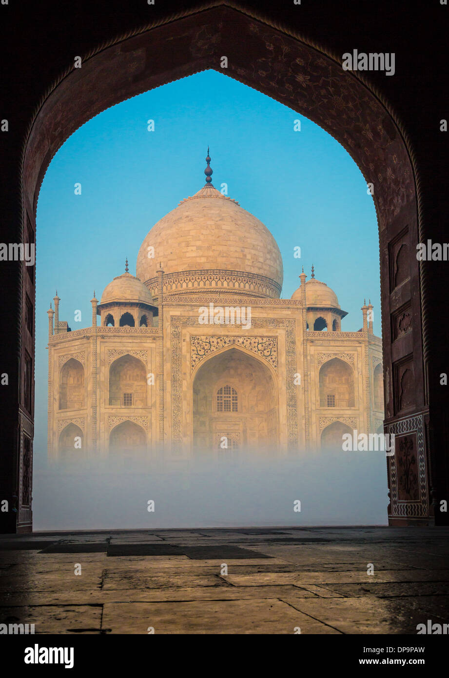 The Taj Mahal is a white marble mausoleum located in Agra, Uttar Pradesh, India - Stock Image