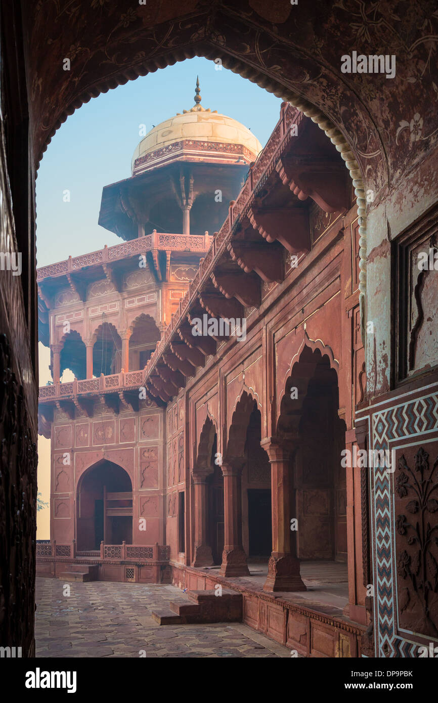 The Taj Mahal is a white marble mausoleum located in Agra, Uttar Pradesh, India - Stock Image