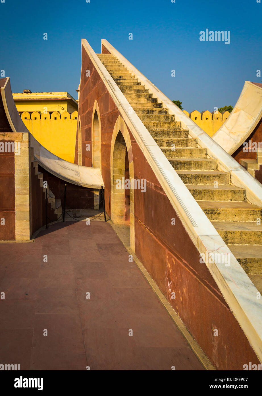 The Jantar Mantar is a collection of architectural astronomical instruments in Jaipur, India - Stock Image