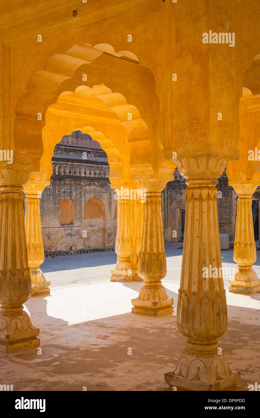 Amer Fort is located in Amer 6.8 mi from Jaipur, Rajasthan state, India - Stock Image