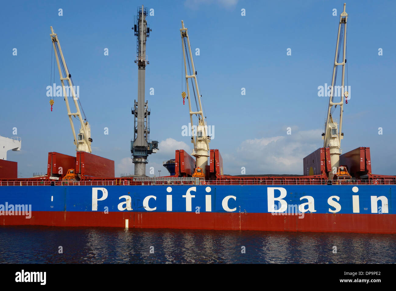 Pacific Basin bulk carrier docked at SEA-invest / Ghent Coal Terminal / GCT at the port of Ghent, East Flanders, Belgium - Stock Image