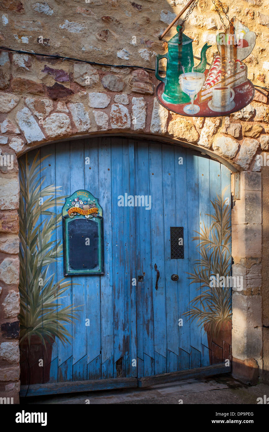 Barn Door Entrance To Cafe In Roussillon Provence France