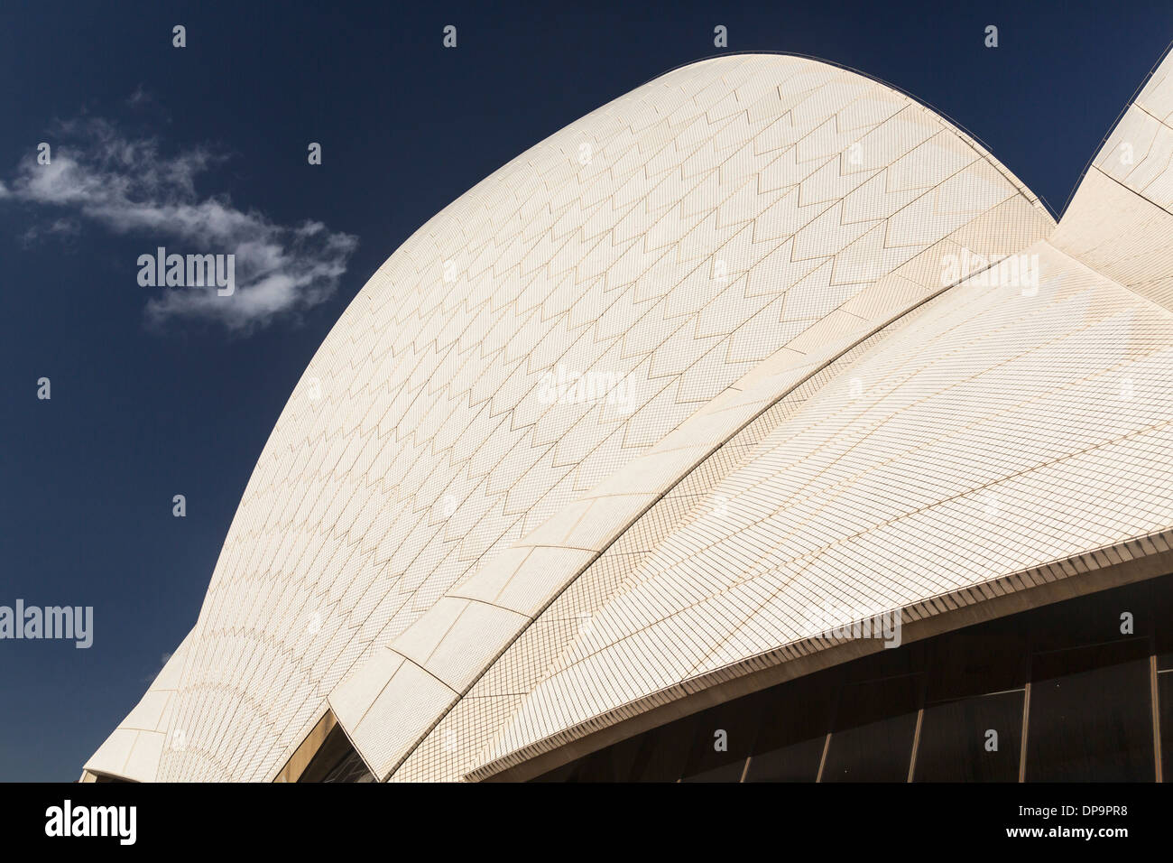 Architectural detail of the modern roof architecture of the Sydney Opera House, Australia - Stock Image