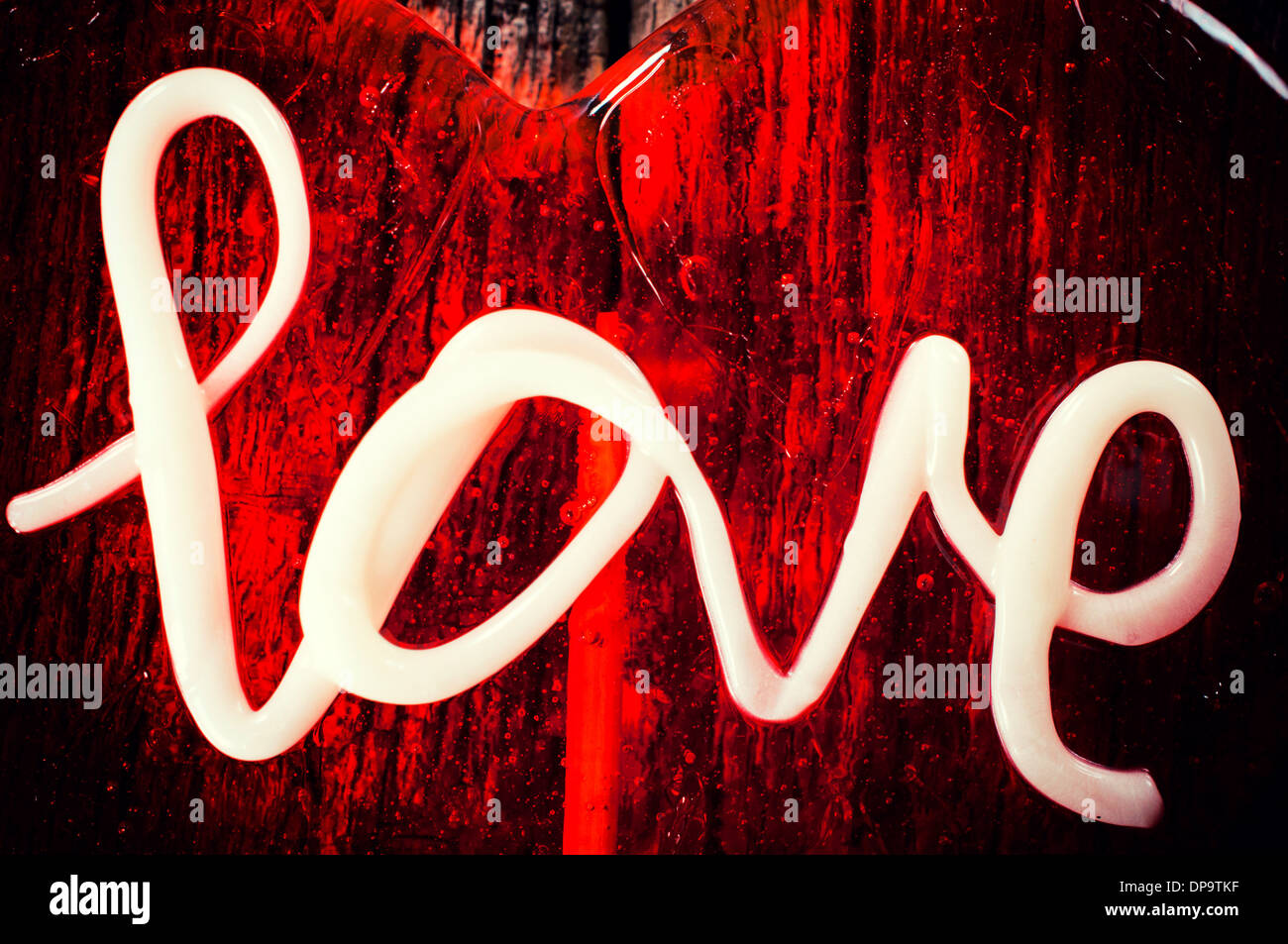 Love letters on the abstract red background - Stock Image