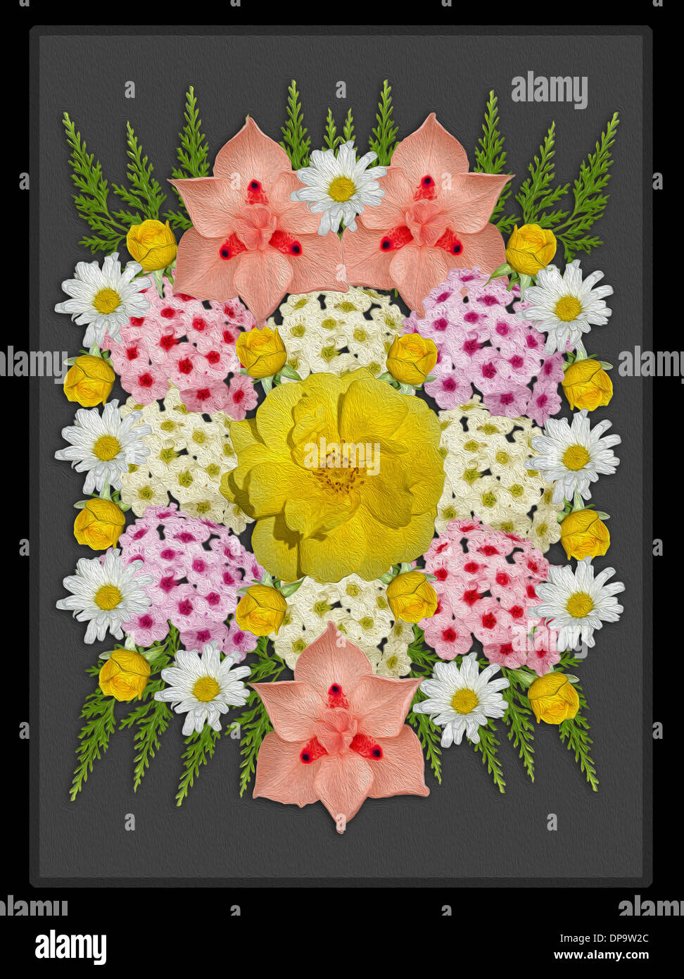 Spectacular floral art with spring flowers white daisies yellow spectacular floral art with spring flowers white daisies yellow roses and other pink and apricot blooms on grey background izmirmasajfo Image collections