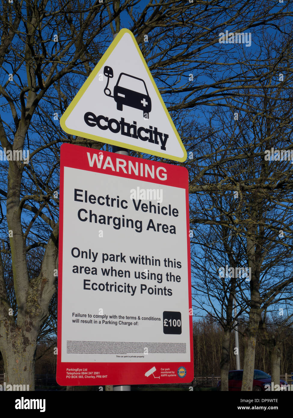 Electric vehicle charging point, M1 motorway services, London Gateway - Stock Image