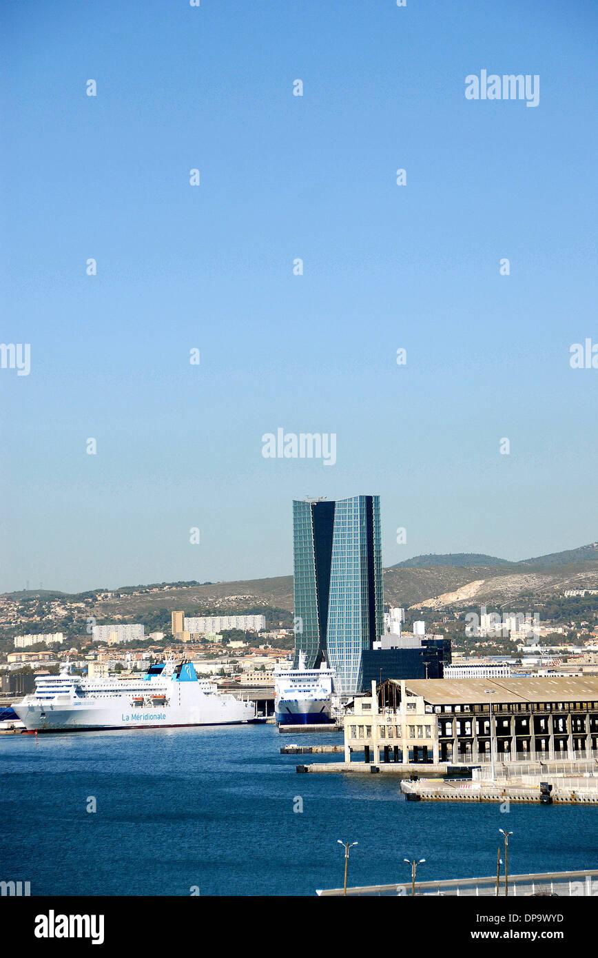 The CMA-CGM tower in the business district of Euroméditerranée Marseille Bouche-du-Rhone Cote d'Azur - Stock Image